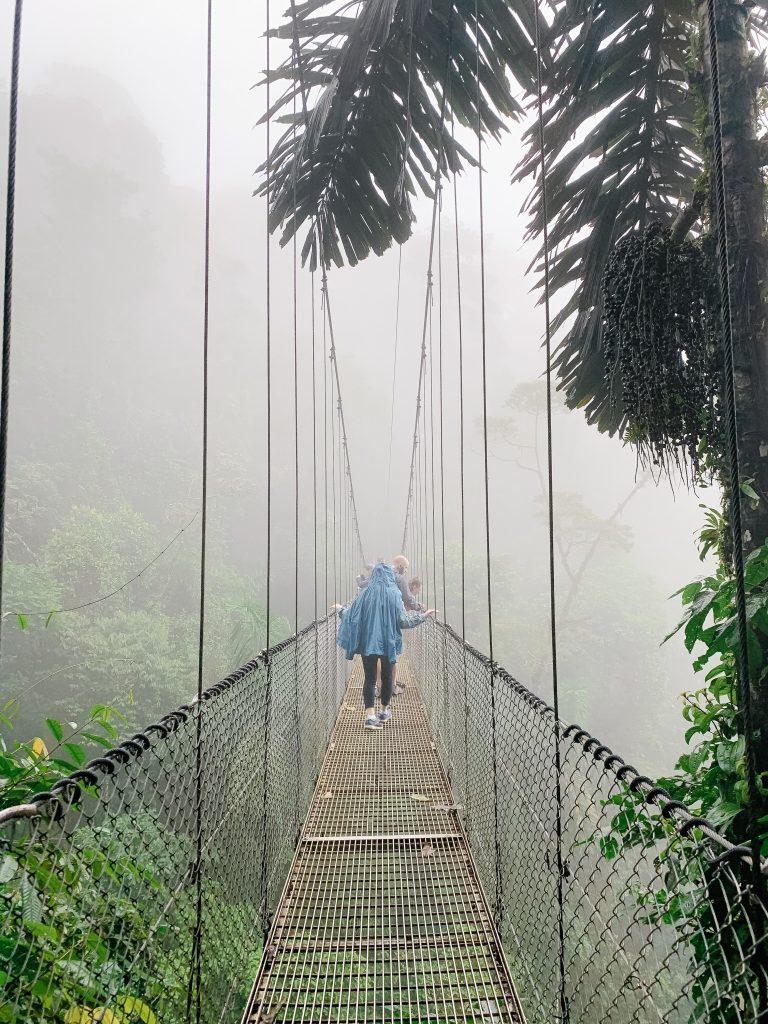 La Fortuna hanging bridges in the fog